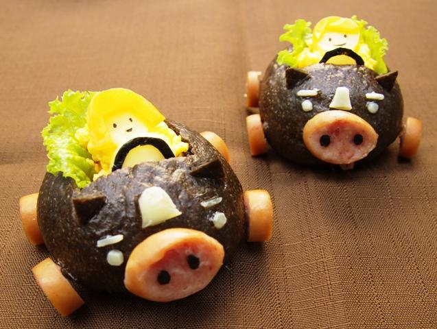 霧島黒豚の「ポーくん」パン!ごまペーストの黒がアクセント!